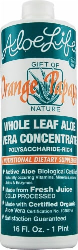 Aloe Life  Whole Leaf Aloe Vera Juice Concentrate   Orange Papaya Perspective: front