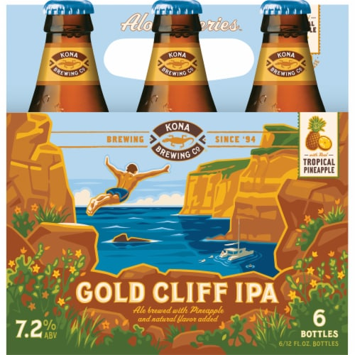 Kona Brewing Co. Tropical Pineapple Gold Cliff IPA Perspective: front
