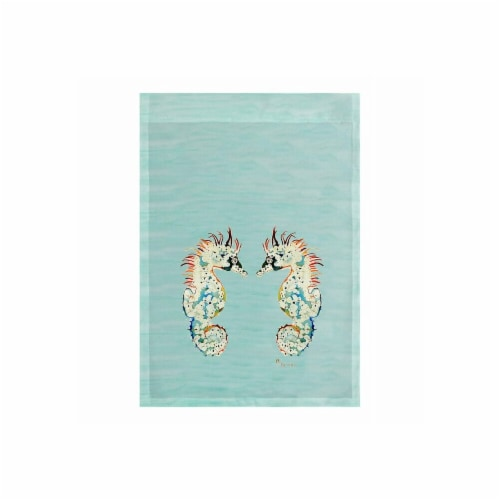 Betsy Drake FL388BG 28 x 40 in. Betsys Seahorses on Light Blue Flag Perspective: front
