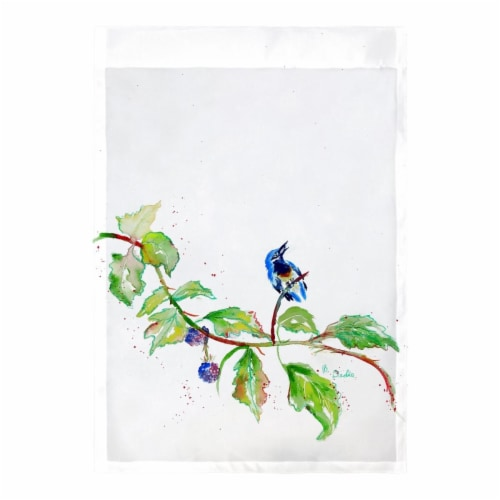 Betsy Drake FL1072 12.5 x 18 in. Bird & Blackberries Flag Perspective: front