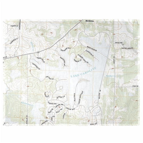 Betsy Drake PM856 Lake Caroline, MS Nautical Map Place Mat - Set of 4 Perspective: front