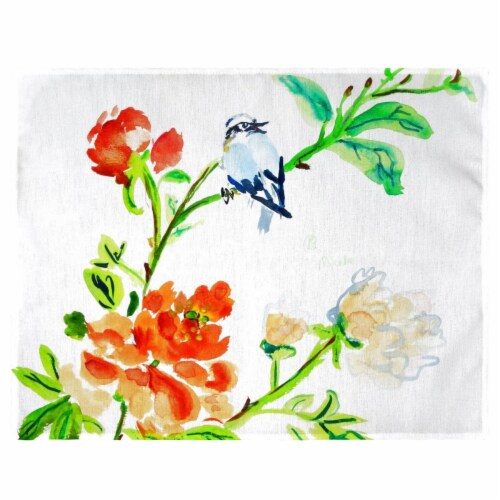 Betsy Drake PM1103 Blue Bird & Flowers Place Mat - Set of 4 Perspective: front