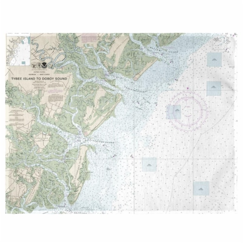 Betsy Drake PM11509 Tybee Island to Doboy Sound, GA Nautical Map Place Mat - Set of 4 Perspective: front