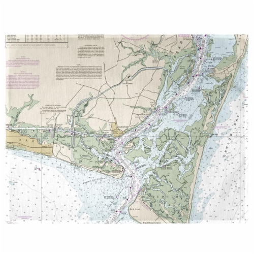 Betsy Drake PM11537 Cape Fear, NC Nautical Map Place Mat - Set of 4 Perspective: front