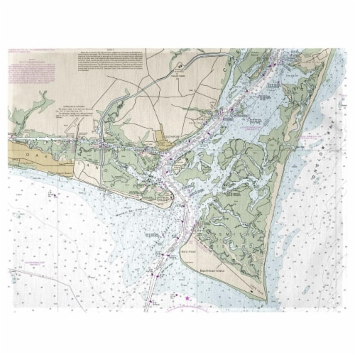 Betsy Drake PM11537B Baldhead Island, NC Nautical Map Place Mat - Set of 4 Perspective: front