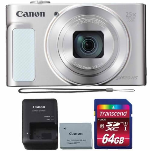 Canon Powershot Sx620 Hs Digital Camera (white) + 64gb Memory Card Perspective: front