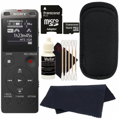Sony Icd-ux560 Digital Voice Recorder With Built-in Usb With 16gb Card And Cleaning Kit Perspective: front