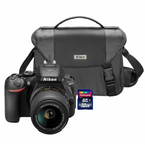 Nikon D5600 24.2mp Wi-fi D-slr Camera With 18-55mm Lens, 32gb Card And Camera Case Perspective: front