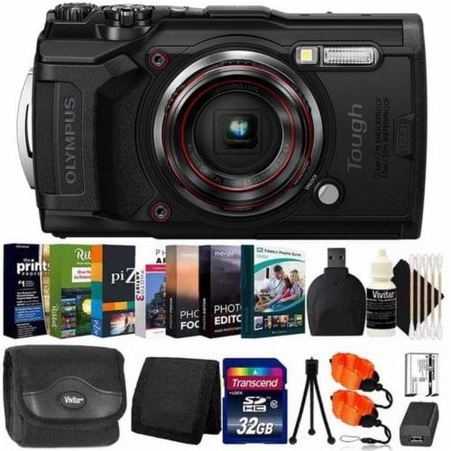 Olympus Tough Tg-6 Digital Camera Black + 32gb Card + Photo Editor Bundle & Kit Perspective: front