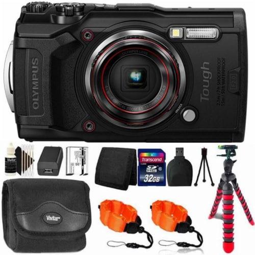 Olympus Tough Tg-6 Digital Camera Black + 32gb Memory Card & Accessory Kit Perspective: front