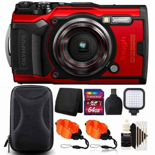 Olympus Tough Tg-6 12mp Waterproof W-fi Digital Camera Red With 64gb Card + Accessory Kit Perspective: front