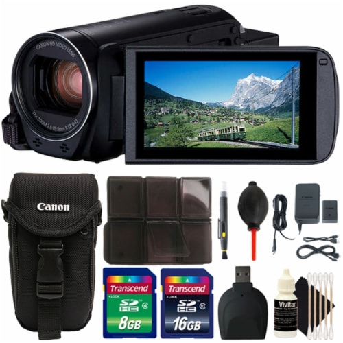 Canon Vixia Hf R800 1960c002 3.28mp Full Hd Video Camcorder With 24gb Cleaning Accessory Kit Perspective: front