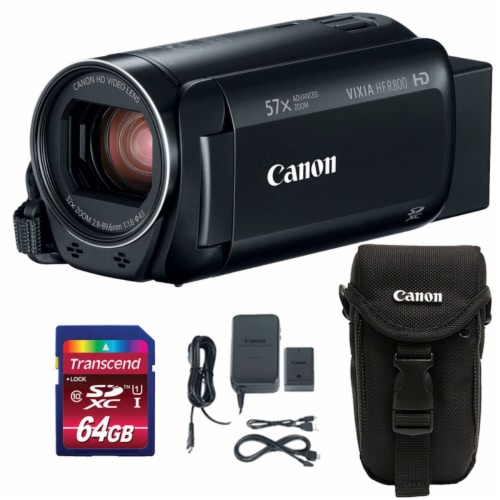 Canon Vixia Hf R800 1960c002 3.28mp Full Hd Video Camcorder With Memory Card & Case Perspective: front