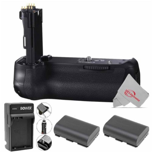 Vivitar Battery Grip For Canon 90d 80d 70d + Two Replacement Battery + Charger Perspective: front