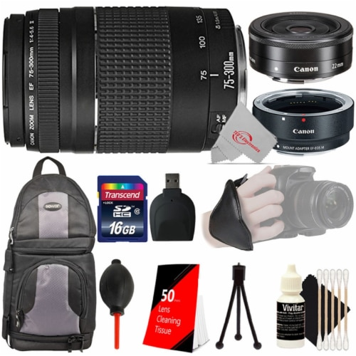Canon Ef 75-300mm Iii Lens With Canon Ef-m 22mm Stm Lens + Ef-eos M Adapter Accessory Bundle Perspective: front