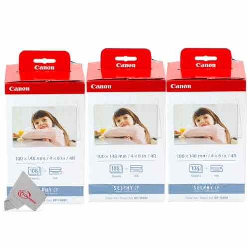Three Pack Canon KP-108IN Color Ink & 4x6 Paper Set for SELPHY CP910 CP900 Perspective: front