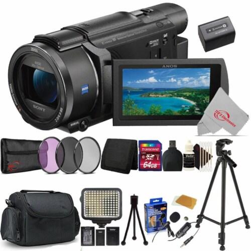 Sony Fdr-ax53 4k Ultra Hd Handycam 4k Ultra Hd Camcorder + Essential Accessory Bundle Perspective: front