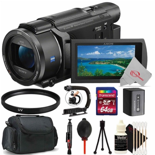 Sony Fdr-ax53 4k Ultra Hd Handycam 4k Ultra Hd Camcorder + Starter Accessory Bundle Perspective: front