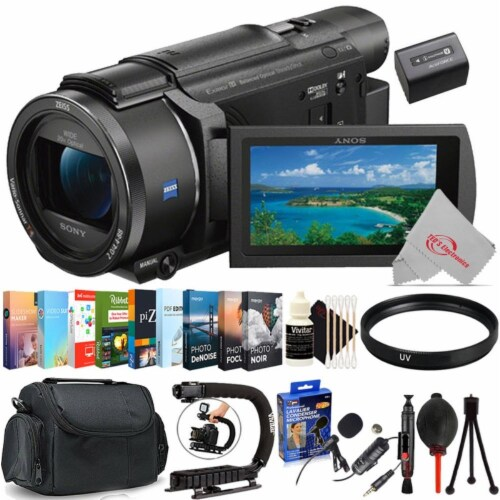 Sony Fdr-ax53 4k Ultra Hd Handycam 4k Ultra Hd Camcorder + Top Accessory Bundle Perspective: front