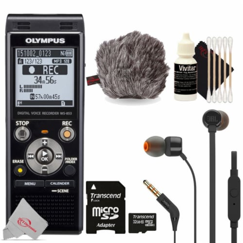 Olympus Ws-853 Digital Voice Recorder Black With Jbl T110 In Ear Headphones & Accessories Perspective: front