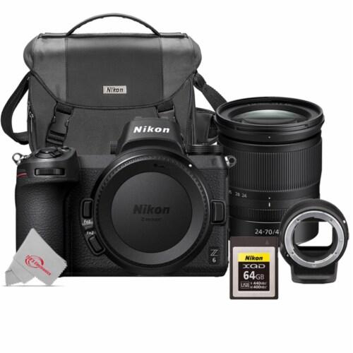 Nikon Z6 Fx-format Mirrorless Digital Camera + 24-70 F/4 Ftz + 64gb Xqd Card Kit Perspective: front