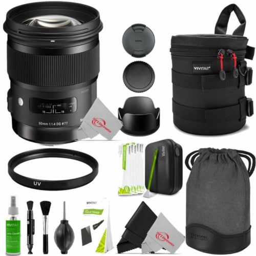 Sigma 50mm F/1.4 Dg Hsm Art Full-frame Lens For Nikon F With Professional Cleaning Bundle Perspective: front
