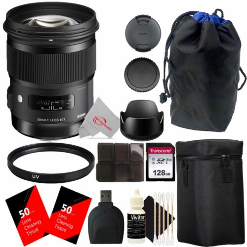 Sigma 50mm F/1.4 Dg Hsm Art Full-frame Lens For Sony E With Essential Accessory Bundle Perspective: front