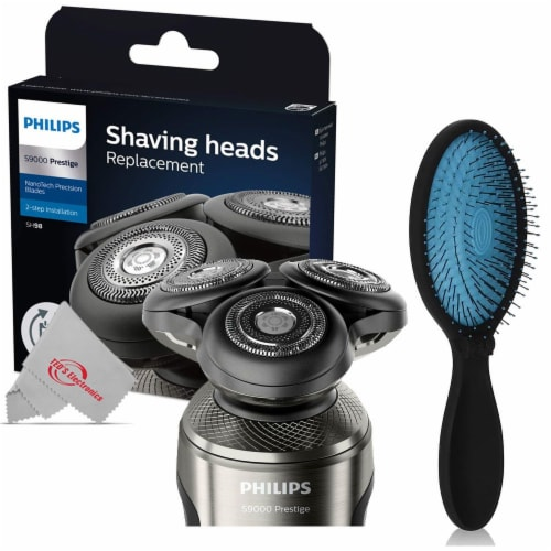 Philips Norelco Shaver 9000 Prestige Shaving Head, Sh98/72 With Pro Pop Fold Detangling Brush Perspective: front