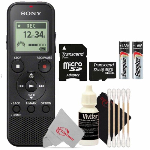 Sony Icd-px370 Digital Voice Recorder With Headphone Jacks With Accessory Kit Perspective: front