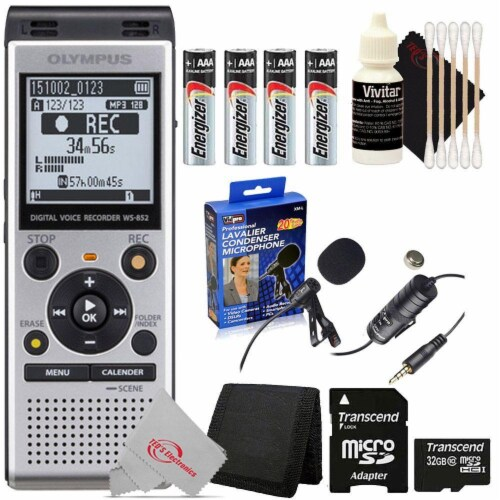 Olympus Ws-852 V415121su000 Digital Voice Recorder (silver) + Essential Accessory Kit Perspective: front