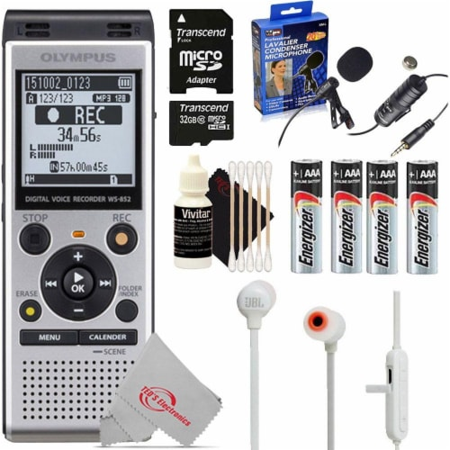 Olympus Ws-852 V415121su000 Digital Voice Recorder (silver) + Deluxe Accessory Kit Perspective: front