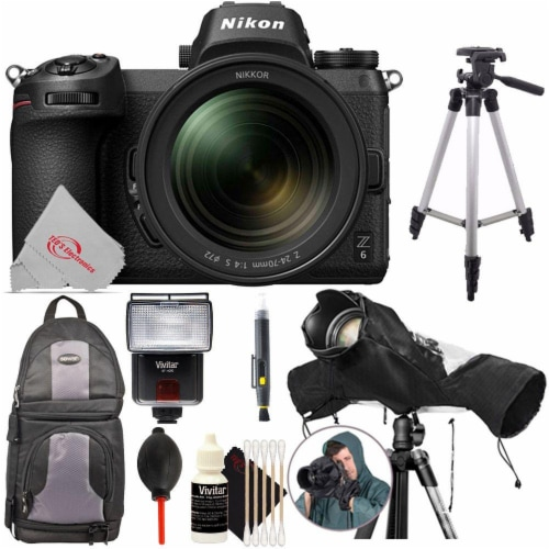 Nikon Z 6 24.5mp Mirrorless Digital Camera + Nikkor Z 24-70 F/4 Ftz Essential Kit Perspective: front