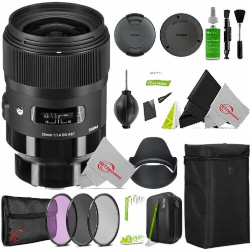 Sigma 35mm F/1.4 Dg Hsm Art Lens 340965 For Sony E With Filter Accessory Kit Perspective: front