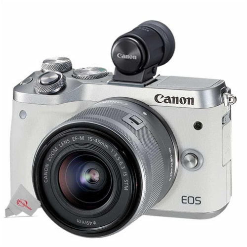 Canon Eos M6 24.2mp Mirrorless Digital Camera White With 15-45mm Lens + Electronic Viewfinder Perspective: front