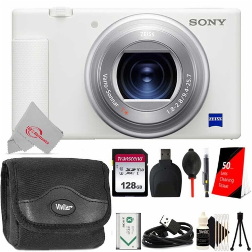 Sony Zv-1 Built-in Wi-fi Digital Camera White + 128gb Accessory Kit Perspective: front