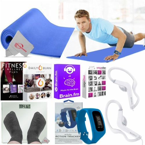 5mm Yoga Mat Activity Tracker Earbuds And Iphone App Bundle For Muscle Training Perspective: front