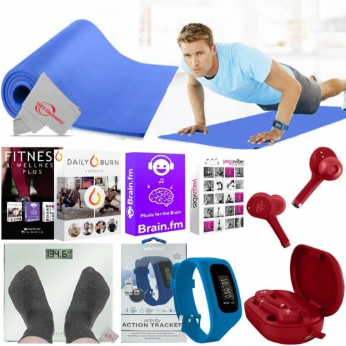 Fitness Kit Anti Slip Mat Scale Sony Earbuds Training Classes Calorie Tracker Perspective: front