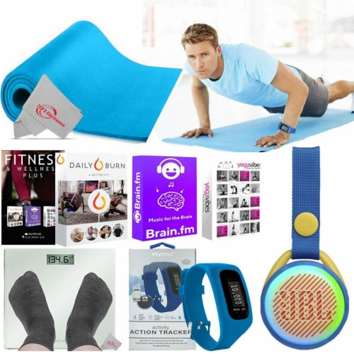 Exercise Fitness Floor Gym Workout Mat Speaker Online Training Activity Tracker Perspective: front