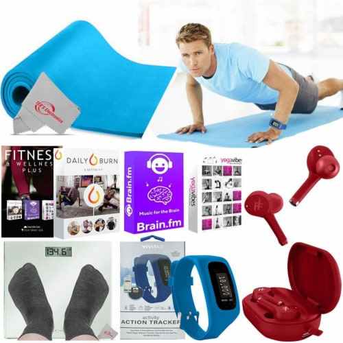 6000 Exercise Classes From Experts Anti Slip Mat Earphones And Activity Tracker Perspective: front