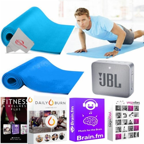 High Density Yoga Mat + Training Courses Bluetooth Speaker For Muscle Training Perspective: front