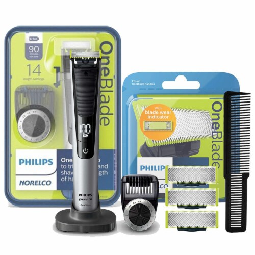 Philips Norelco Oneblade Electric Trimmer And Shaver + 3 Pack Replacement Blade Perspective: front