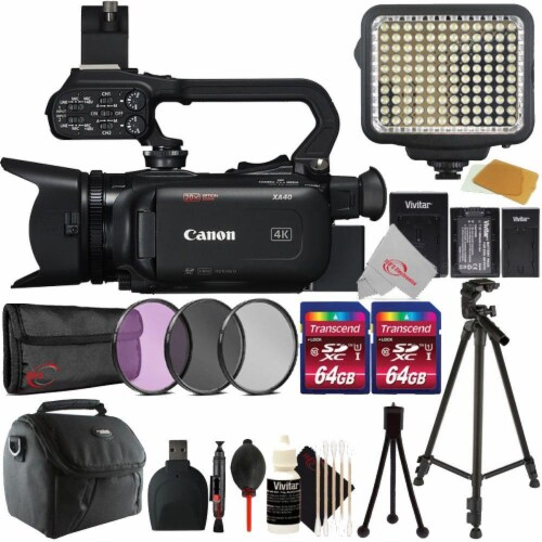 Canon Xa40 Professional Uhd 4k 20x Optical Zoom Lens Camcorder + Filter Accessory Kit Perspective: front