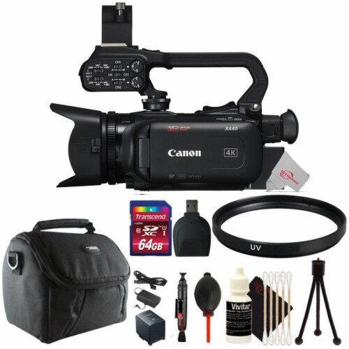 Canon Xa40 Professional Uhd 4k 20x Optical Zoom Lens Camcorder + Uv Filter Accessory Kit Perspective: front