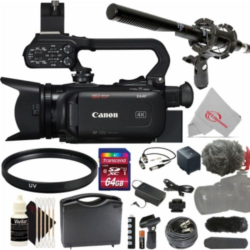 Canon Xa40 Professional Uhd 4k 20x Optical Zoom Lens Camcorder + Microphone Kit Perspective: front