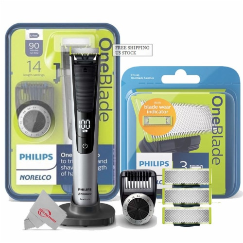 Philips Norelco Oneblade Pro Hybrid Electric Trimmer And Shaver With 3 Pack Replacement Blade Perspective: front