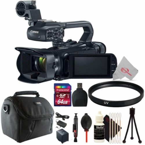 Canon Xa11 Compact Full Hd Professional Camcorder Us Version Ntsc Video + Top Accessory Kit Perspective: front