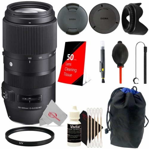 Sigma 100-400mm F/5-6.3 Dg Os Hsm Lens For Canon Ef + Essential Accessory Kit Perspective: front