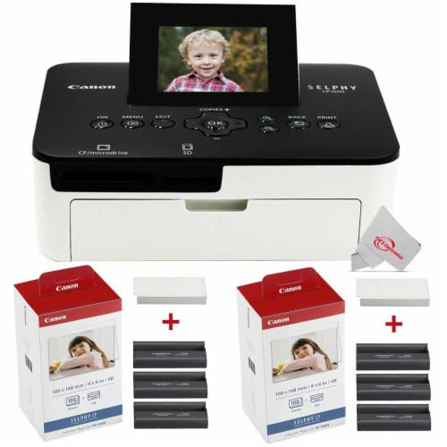 Canon Selphy Cp1000 Compact Colored Photo Printer + 2 Packs Color Ink 4x6 Paper Set 3115b001 Perspective: front
