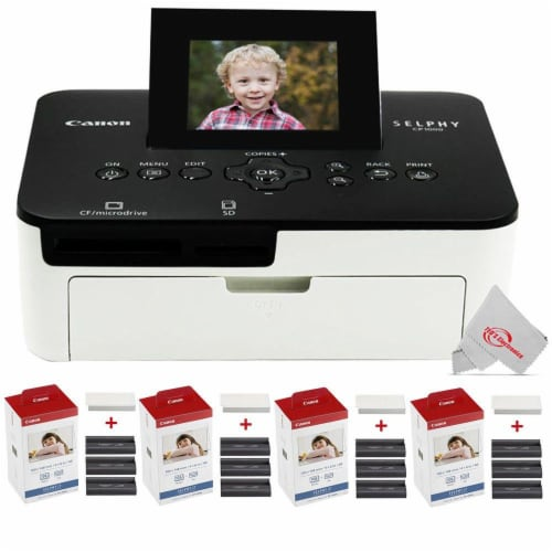 Canon Selphy Cp1000 Compact Colored Photo Printer + 4 Packs Color Ink 4x6 Paper Set 3115b001 Perspective: front