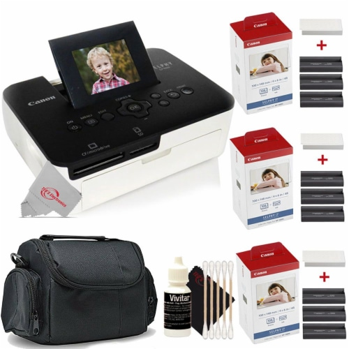 Canon Selphy CP1000 Compact Colored Photo Printer + 2pc Paper Set Accessory Kit Perspective: front